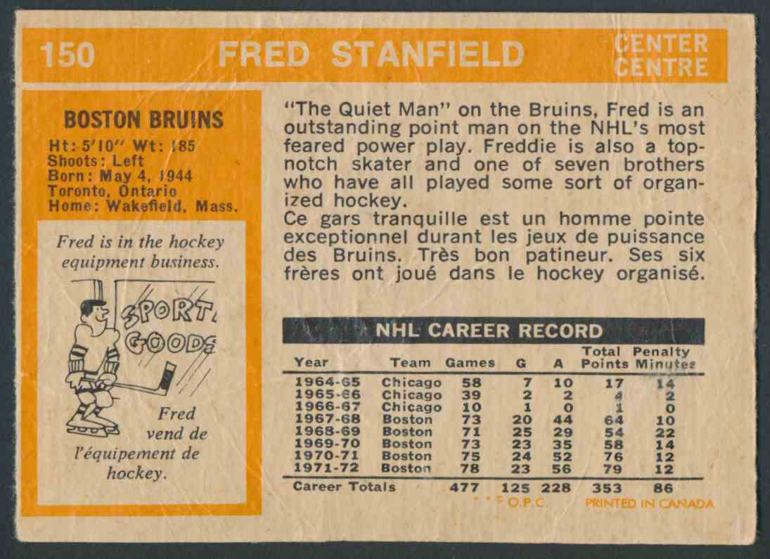 1972-73 O-Pee-Chee Fred Stanfield #150 card back image
