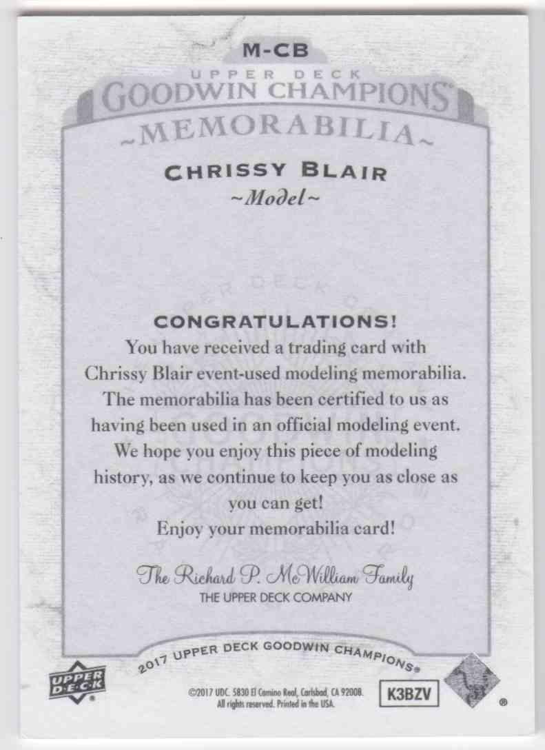 2017 UD Goodwin Champions Memorabilia Chrissy Blair #M-CB card back image
