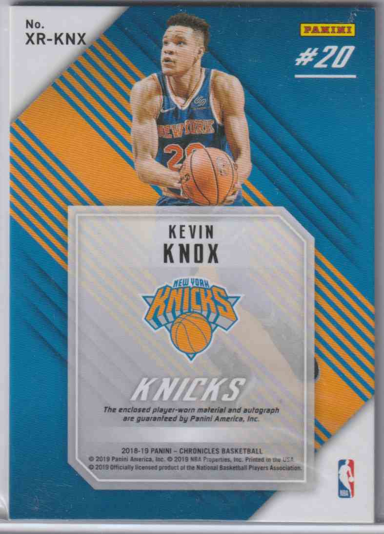 2018-19 Panini Chronicles Xr Rookie Jumbo Swatch Autographs Kevin Knox #XR-KNX card back image