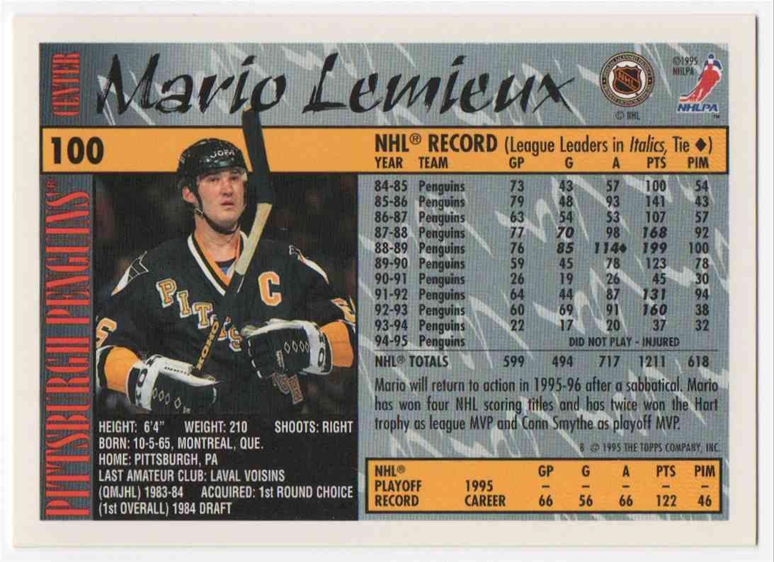 1995-96 Topps Mario Lemieux #100 card back image