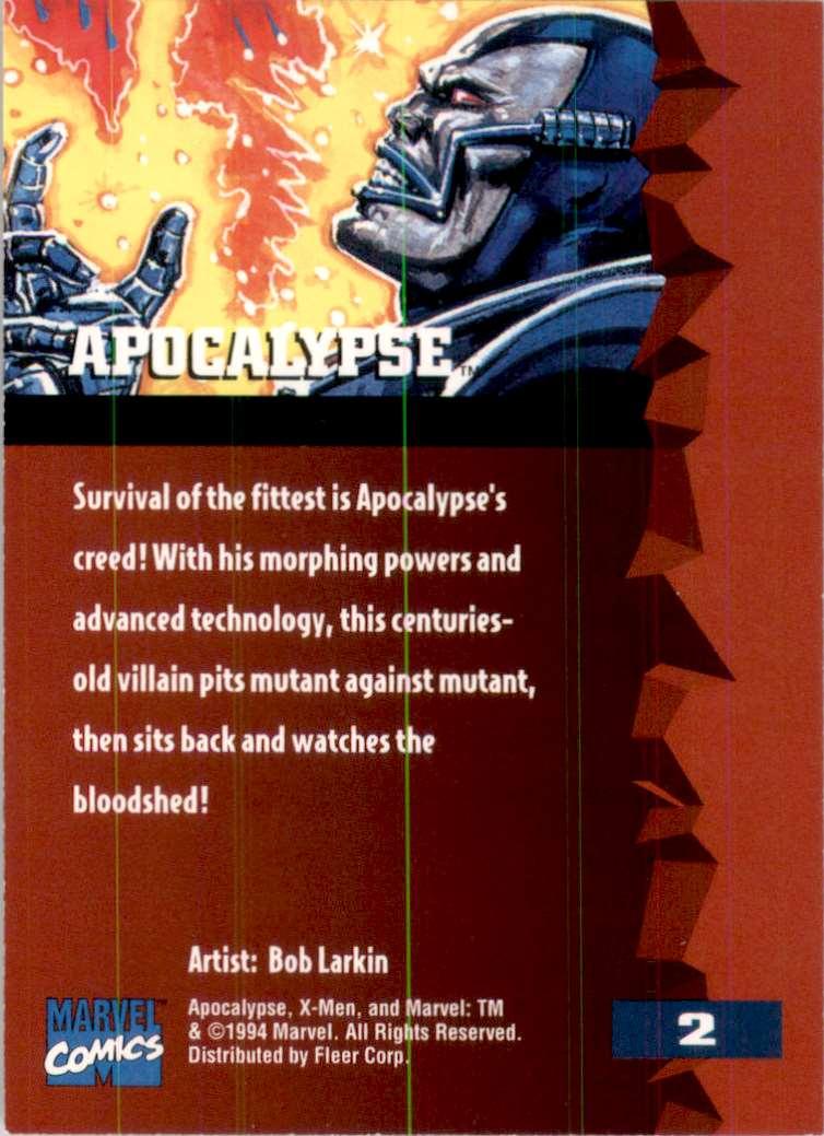 1995 X-Men Ultra Apocalypse #2 card back image