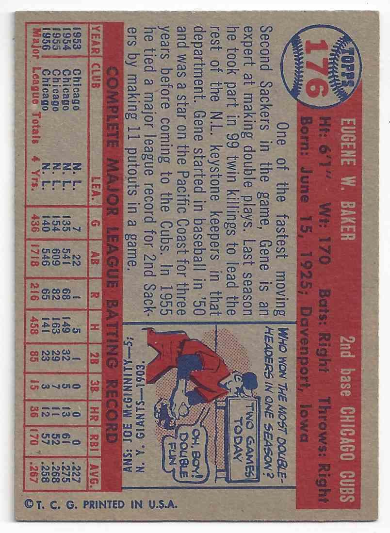 1957 Topps Gene Baker #176 card back image