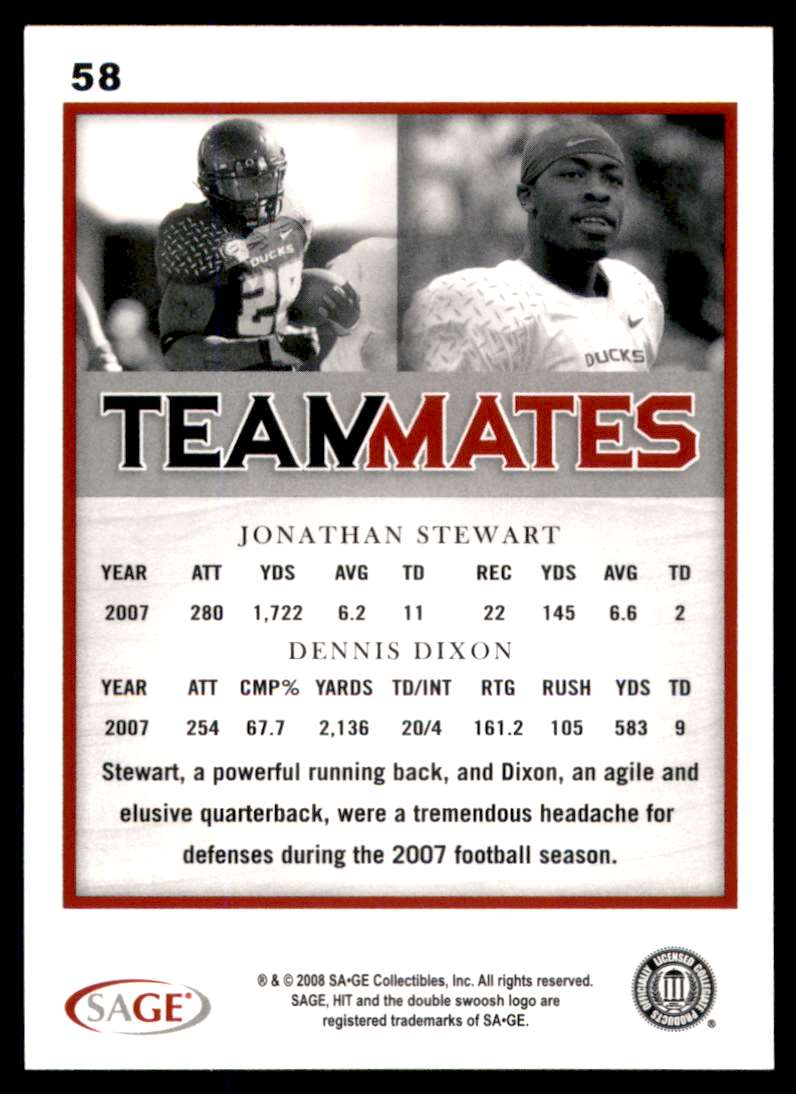 2008 Sage Hit Jonathan Stewart/Dennis Dixon #58 card back image