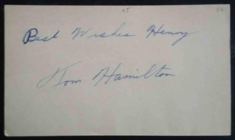 1952 3X5 Tom Hamilton card back image