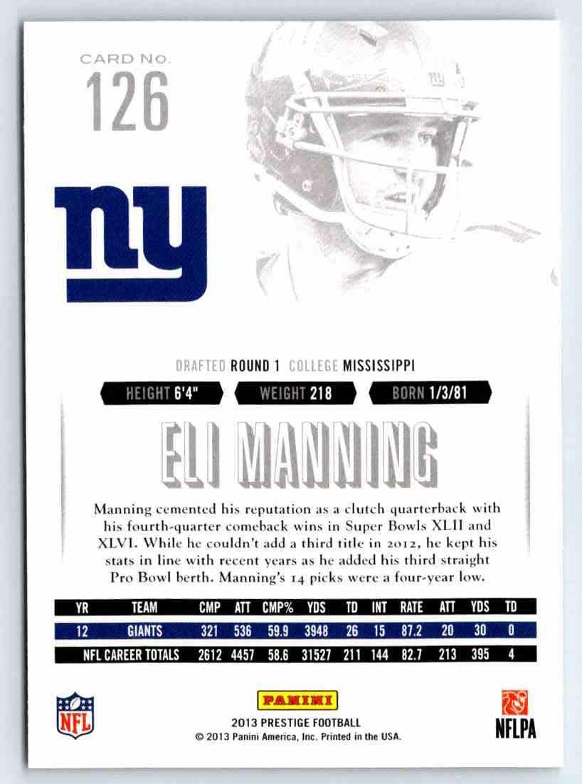 2013 Prestige Eli Manning #126 card back image
