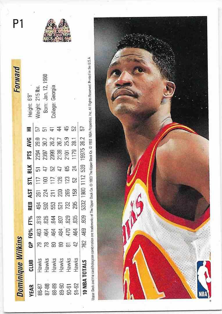 1993-94 Upper Deck McDonald Dominique Wilkins #P1 card back image