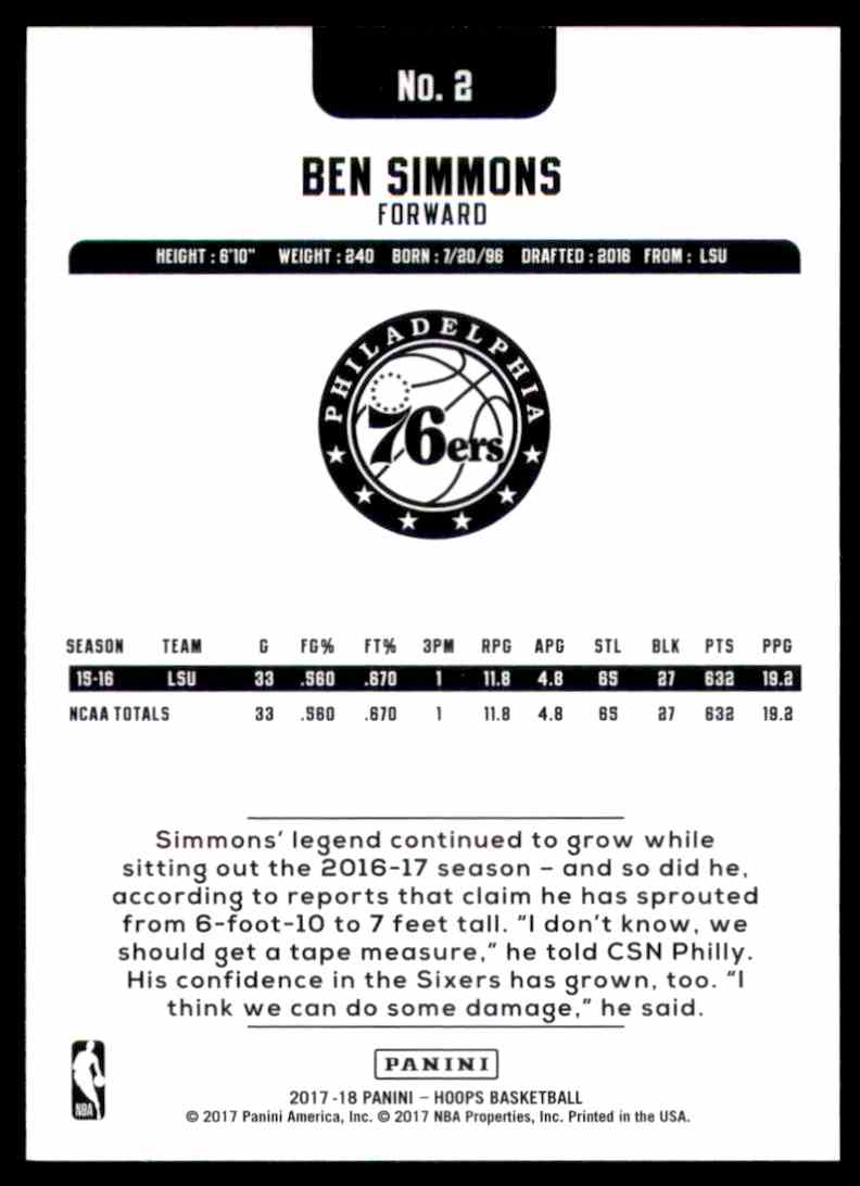 2017-18 Hoops Ben Simmons #2 card back image
