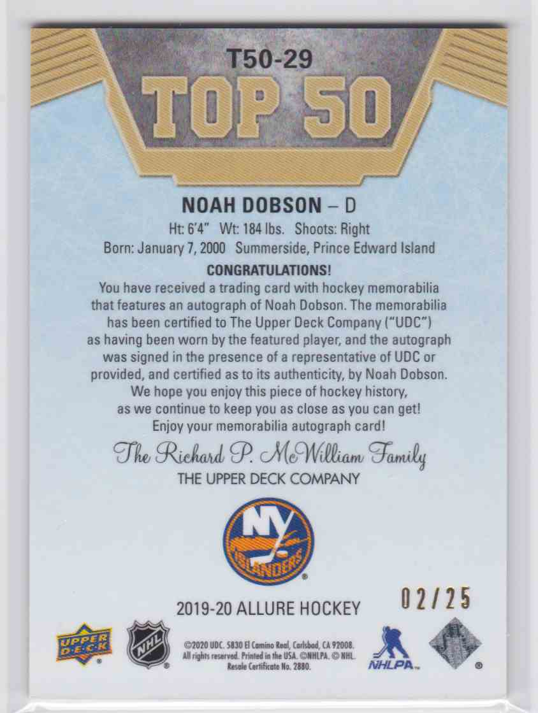 2019-20 Upper Deck Hockey Allure Noah Dobson - Top 50 #T50-29 card back image