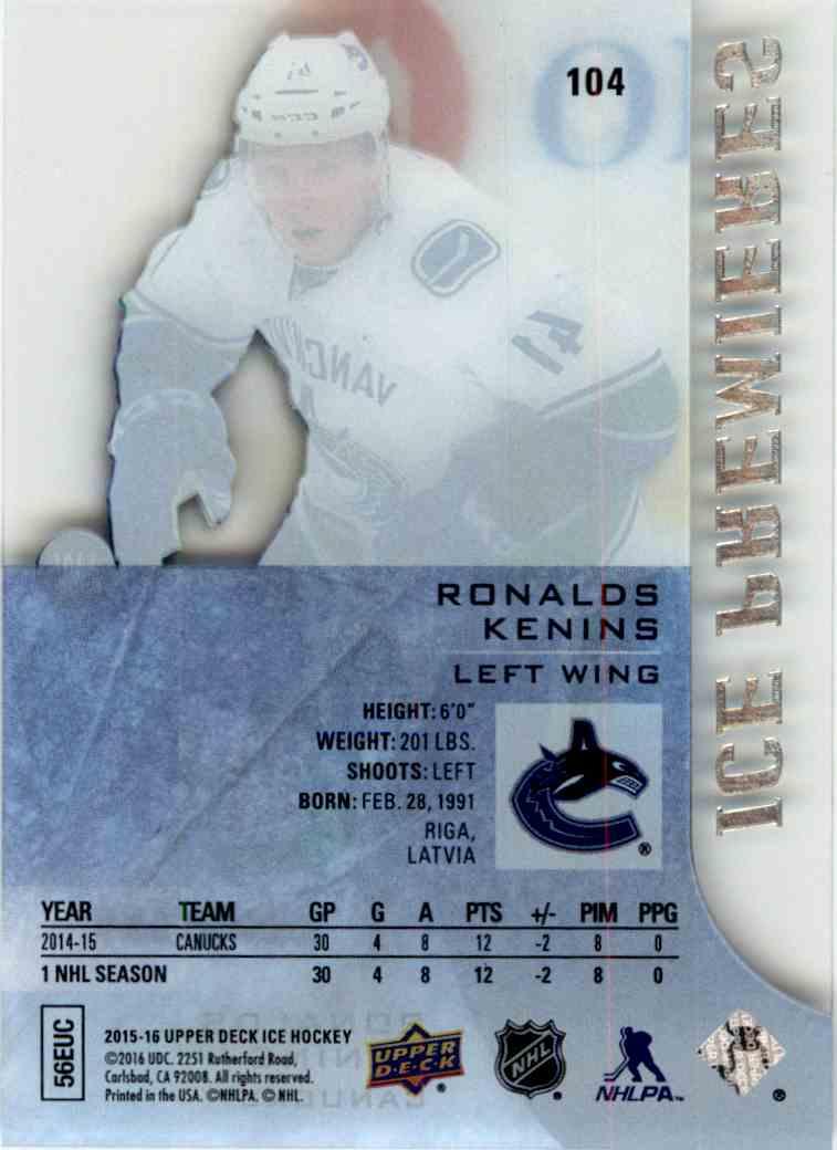2015-16 Upper Deck Ice Premieres Ronalds Kenins #104 card back image
