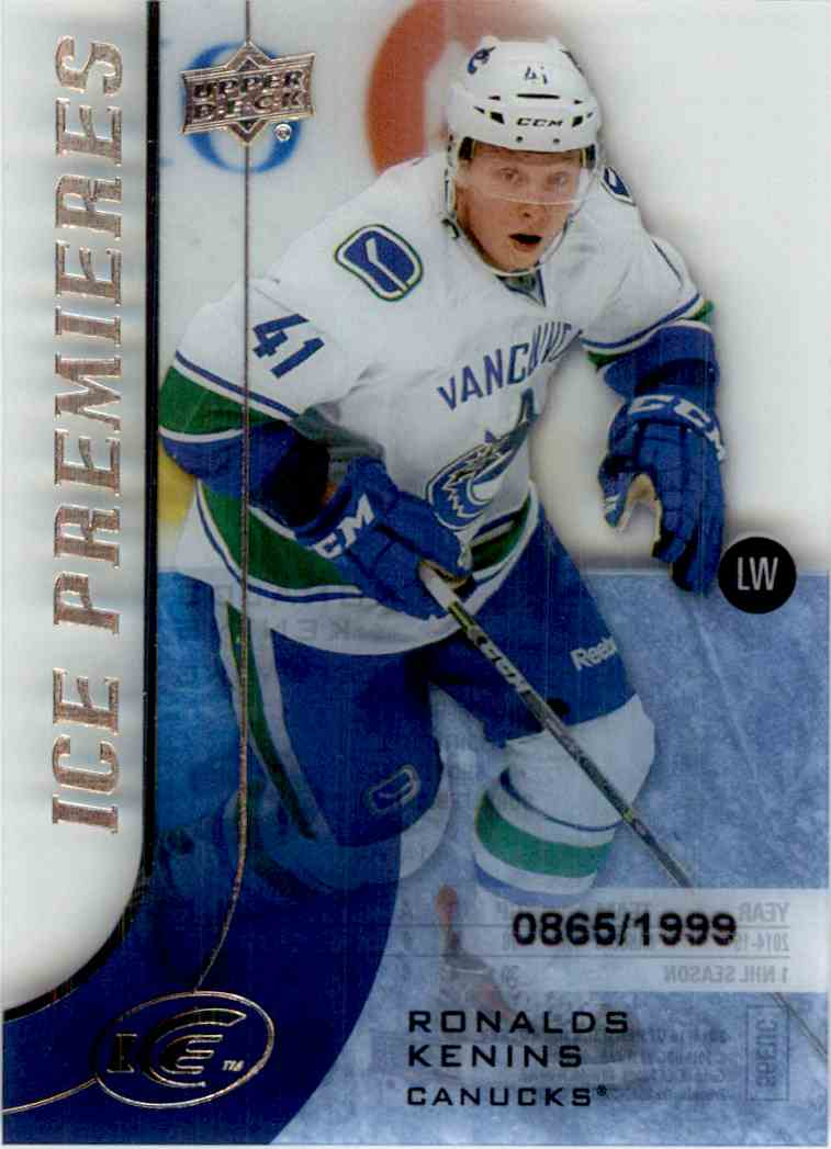 2015-16 Upper Deck Ice Premieres Ronalds Kenins #104 card front image
