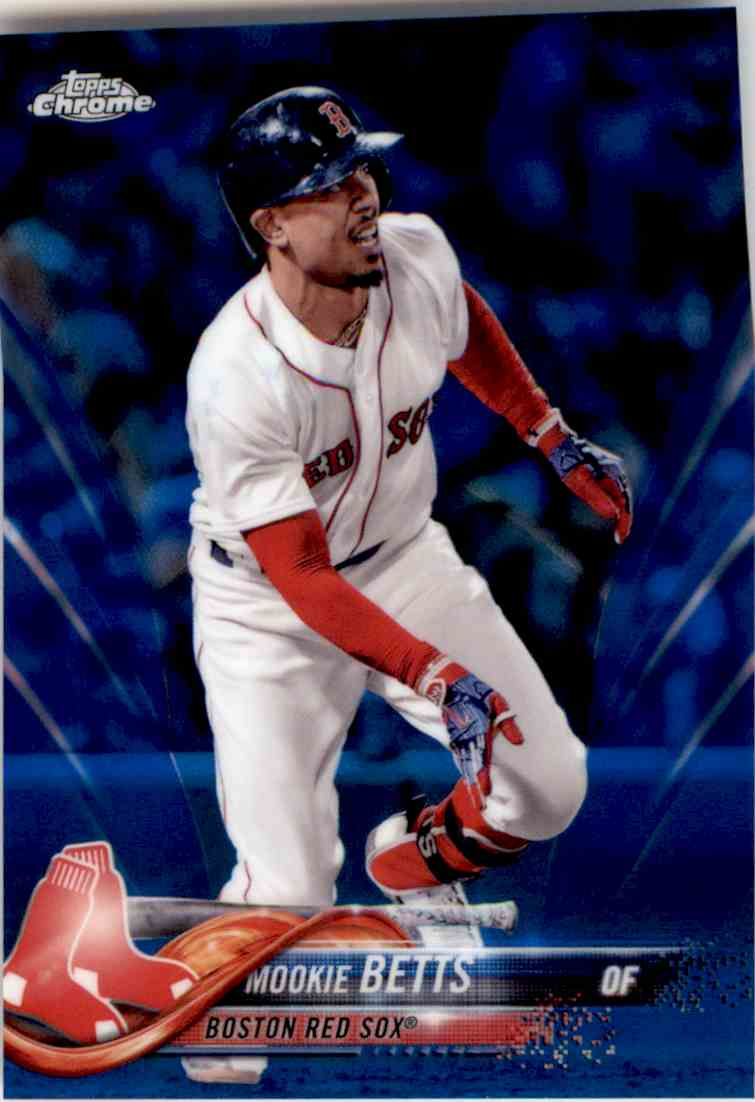 2018 Topps Chrome Blue Refractor Mookie Betts #183 card front image