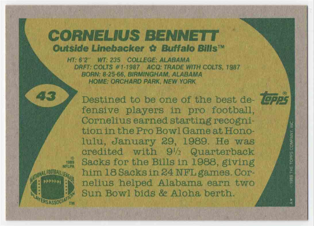 1989 Topps Cornelius Bennett #43 card back image