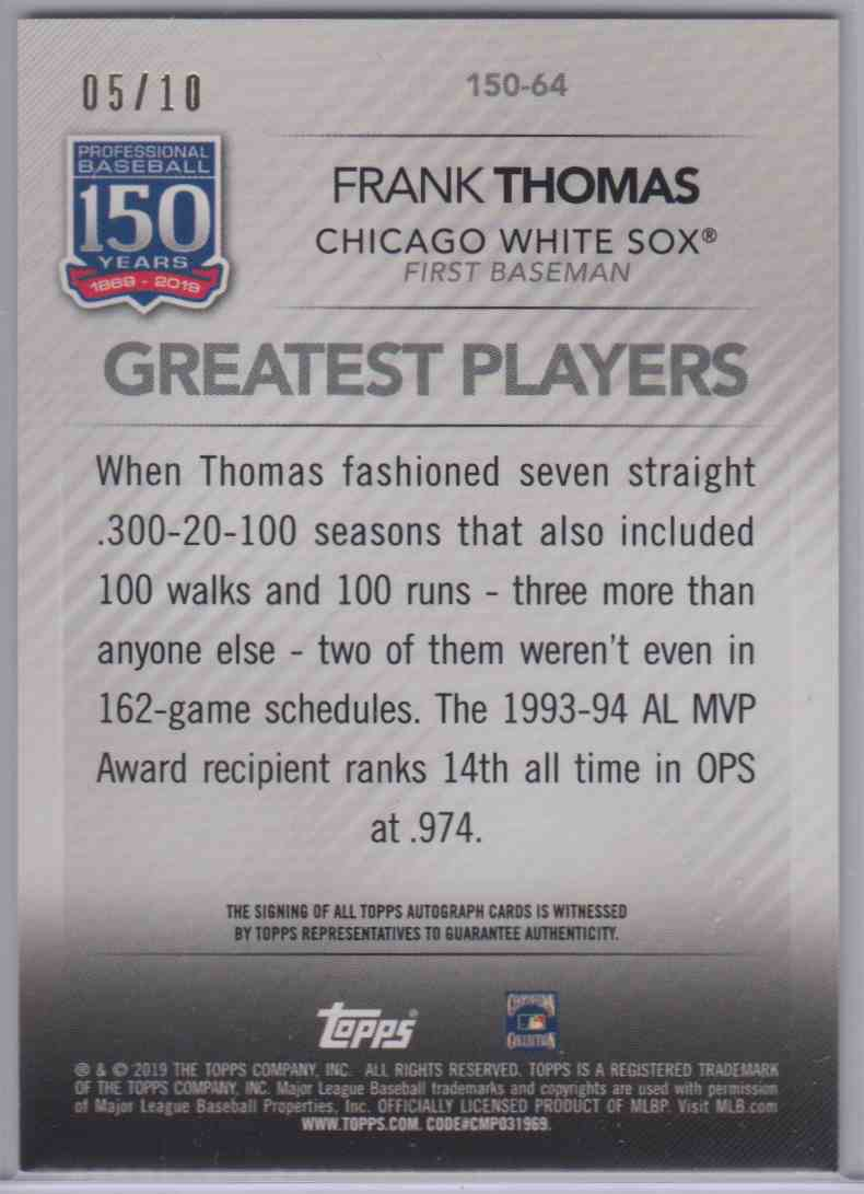 2019 Topps Series 1 Greatest Players Frank Thomas #150-64 card back image