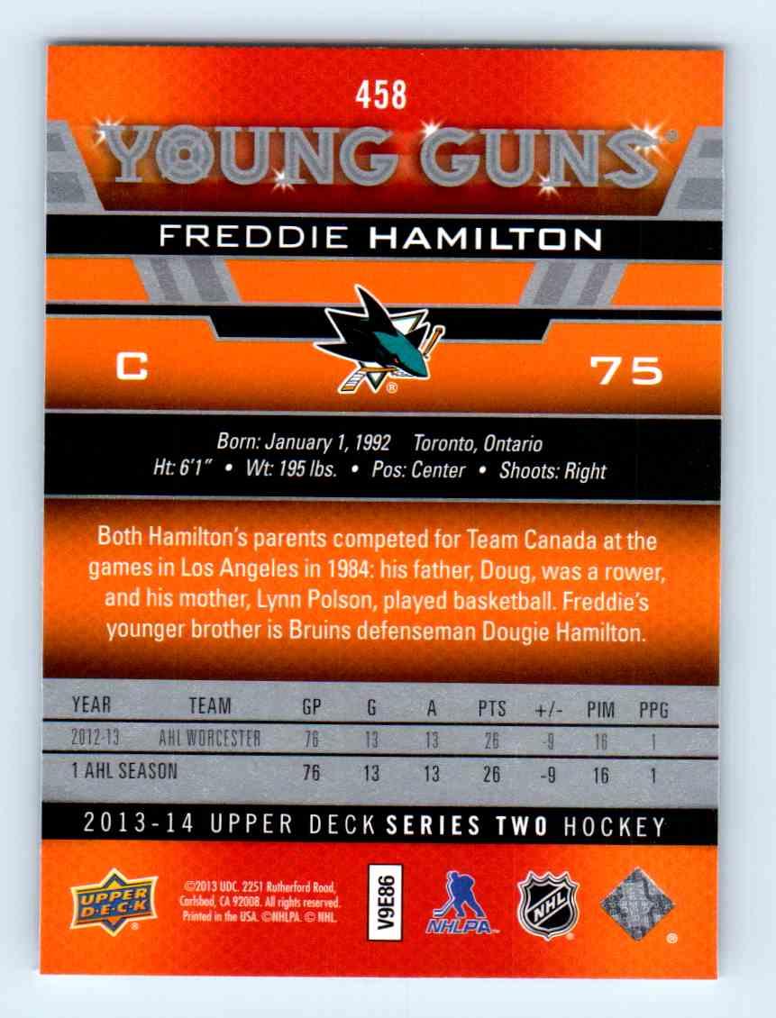 2013-14 Upper Deck Young Guns Freddie Hamilton #458 card back image