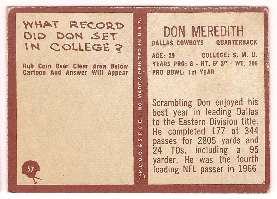 1967 Philadelphia Don Meredith #57 card back image