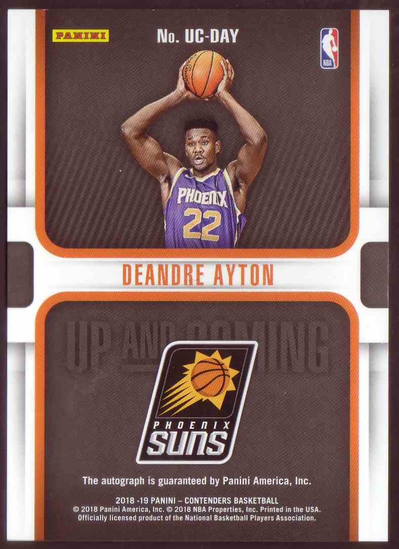 2018-19 Panini Contenders Up And Coming Autographs Bronze DeAndre Ayton #UC-DAY card back image