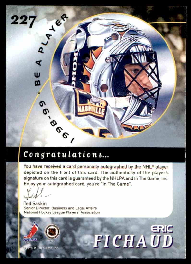 1998-99 Be A Player Autographs Eric Fichaud #227 card back image
