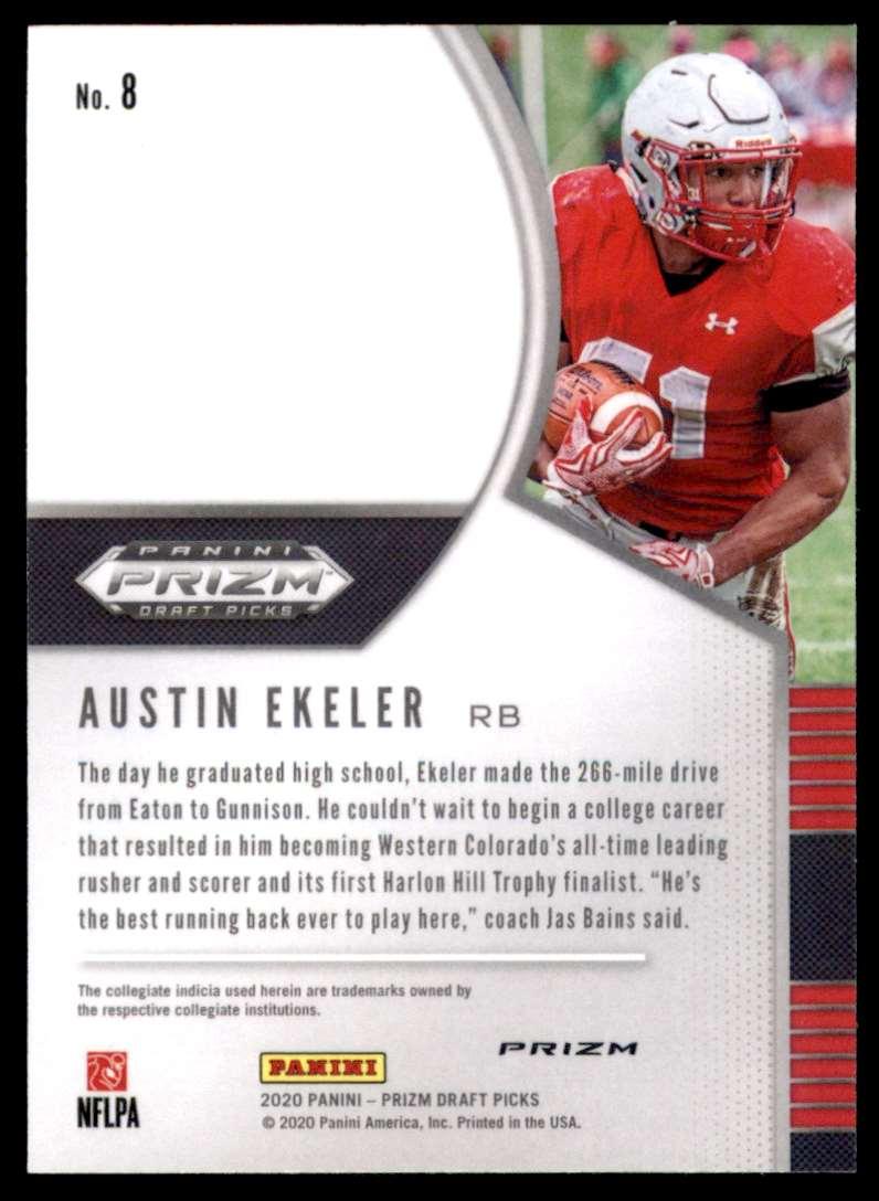 2020 Panini Prizm Draft Picks Prizms Silver Austin Ekeler #8 card back image