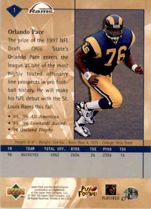 1997 Upper Deck Orlando Pace RC #1 card back image