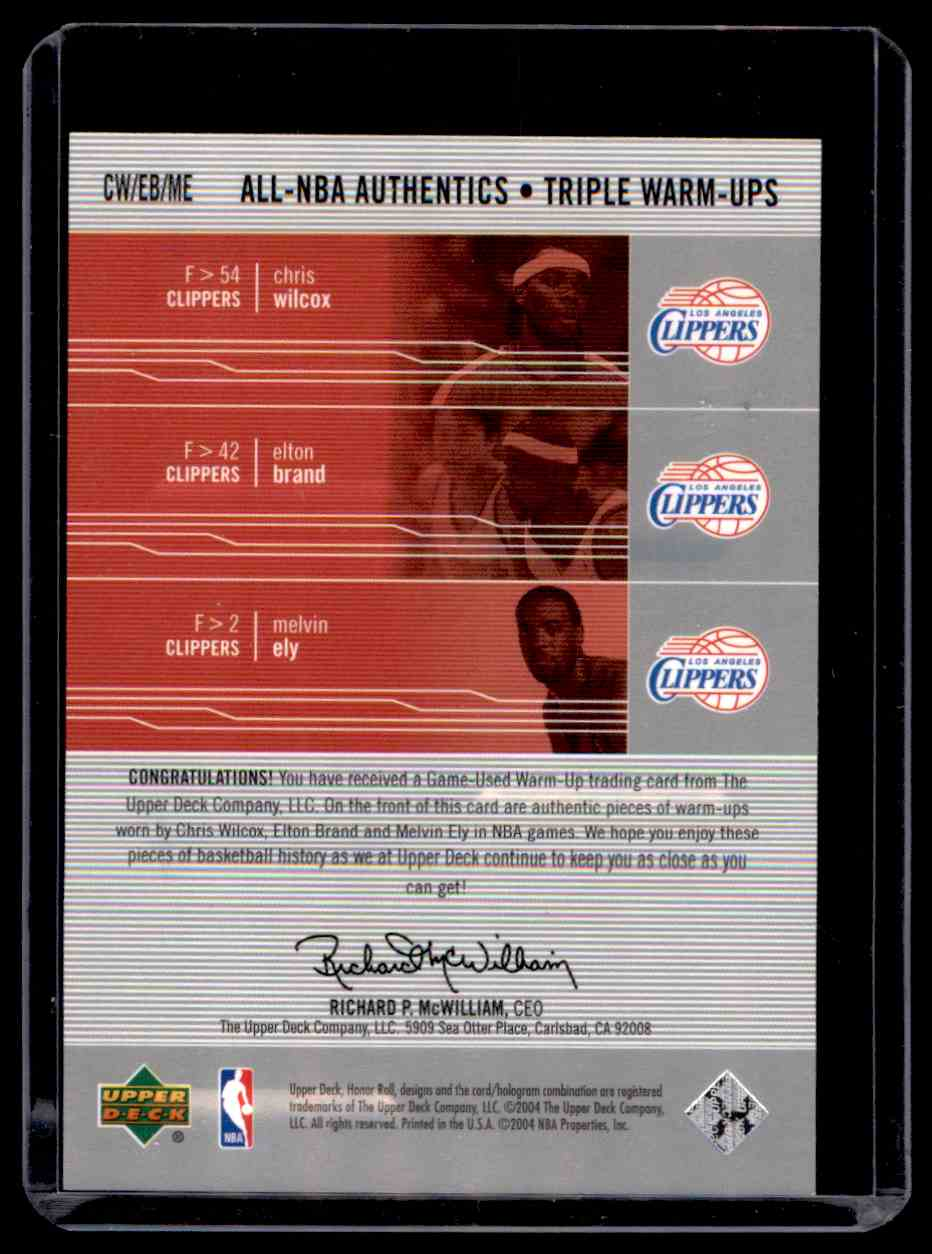 2003-04 Upper Deck Honor Roll Triple Warm-Ups Chris Wilcox Elton Brand Melvin Ely #5 card back image