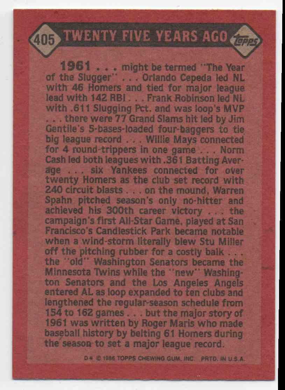 1986 Topps Roger Maris #405 card back image