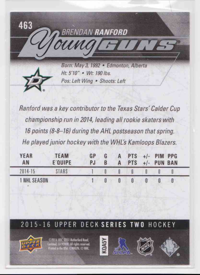 2015-16 Upper Deck Young Guns Brendan Ranford RC #463 card back image