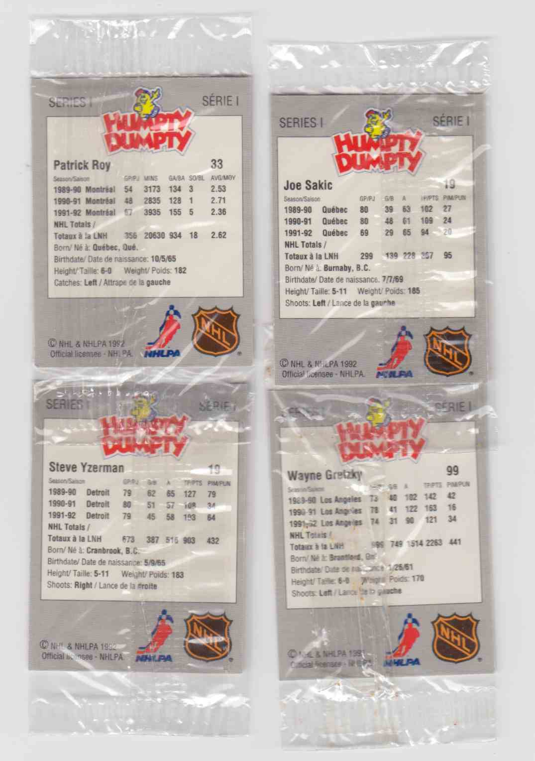1992-93 Humpty Dumpty NHL Hockey - Complete Set (52) - Cello Serie (1 & 2) card back image
