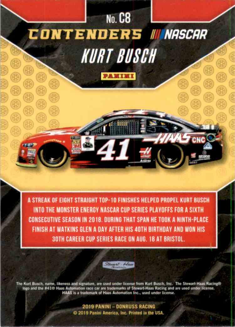 2019 Donruss Contenders Kurt Busch #C8 card back image