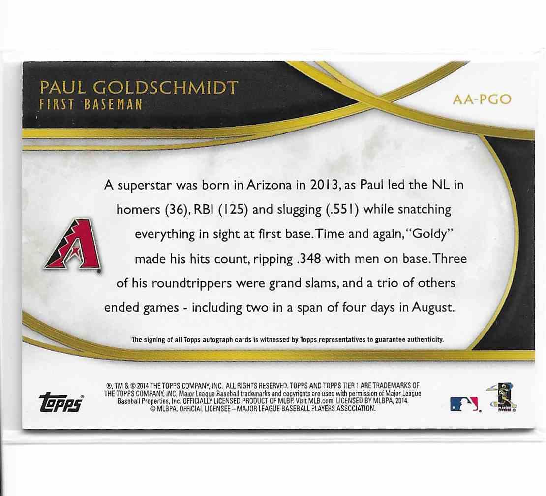 2014 Topps Acclaimed Autographs Paul Goldschmidt #AA-PGO card back image