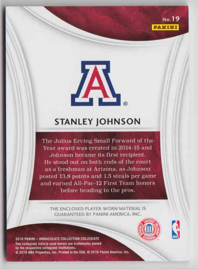 2016-17 Panini Immaculate Collegiate Stanley Johnson #19 card back image