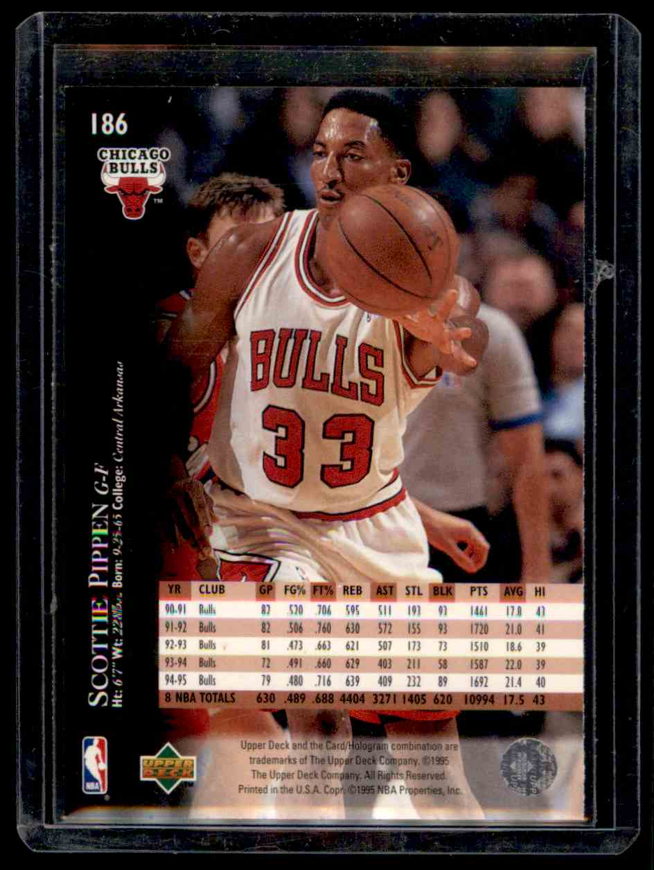 competitive price 4ff62 d6028 1995-96 Upper Deck Electric Court Scottie Pippen #186 on ...