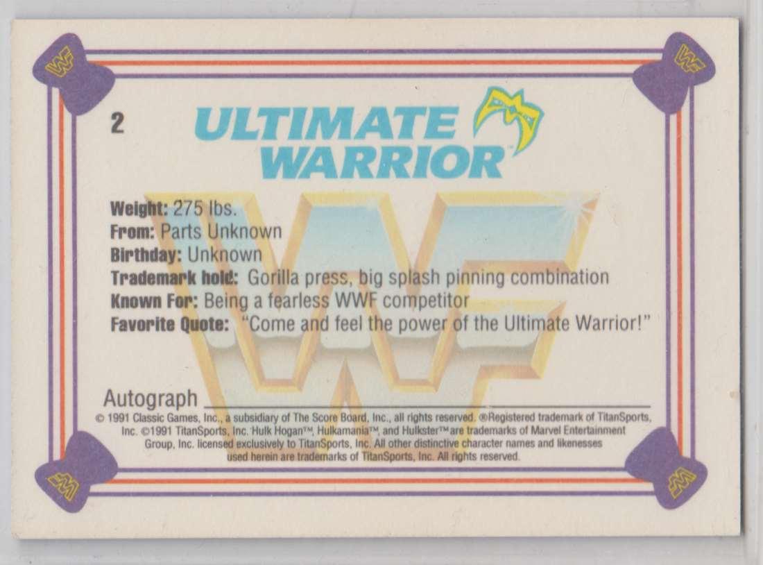 1991 Classic WWF Superstars Ultimate Warrior #2 card back image