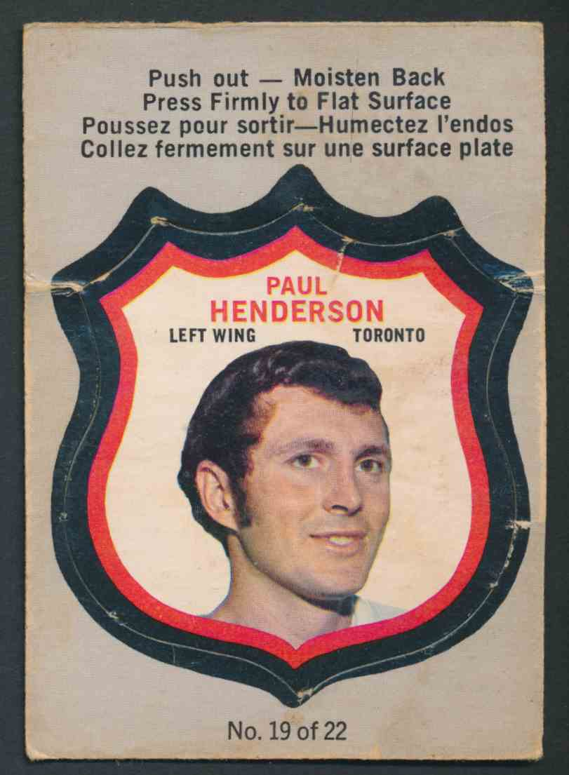 1972-73 O-Pee-Chee Paul Henderson #19 OF 22 card front image