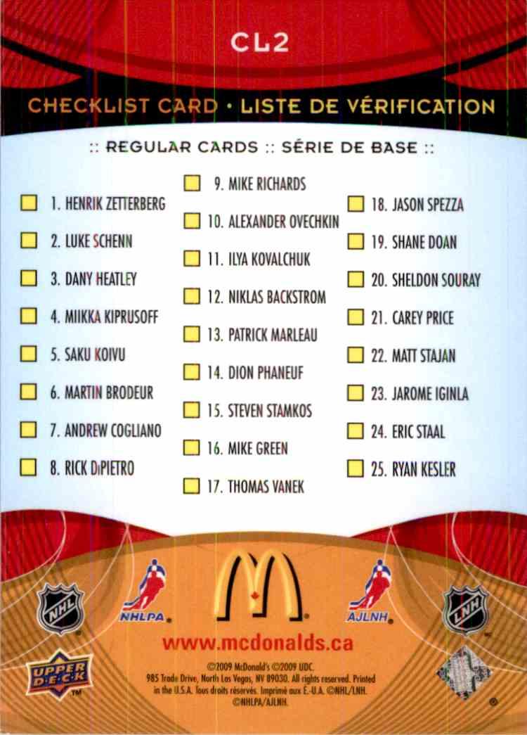 2009-10 Upper Deck Mcdonald's Checklist Jarome Iginla #CL2 card back image
