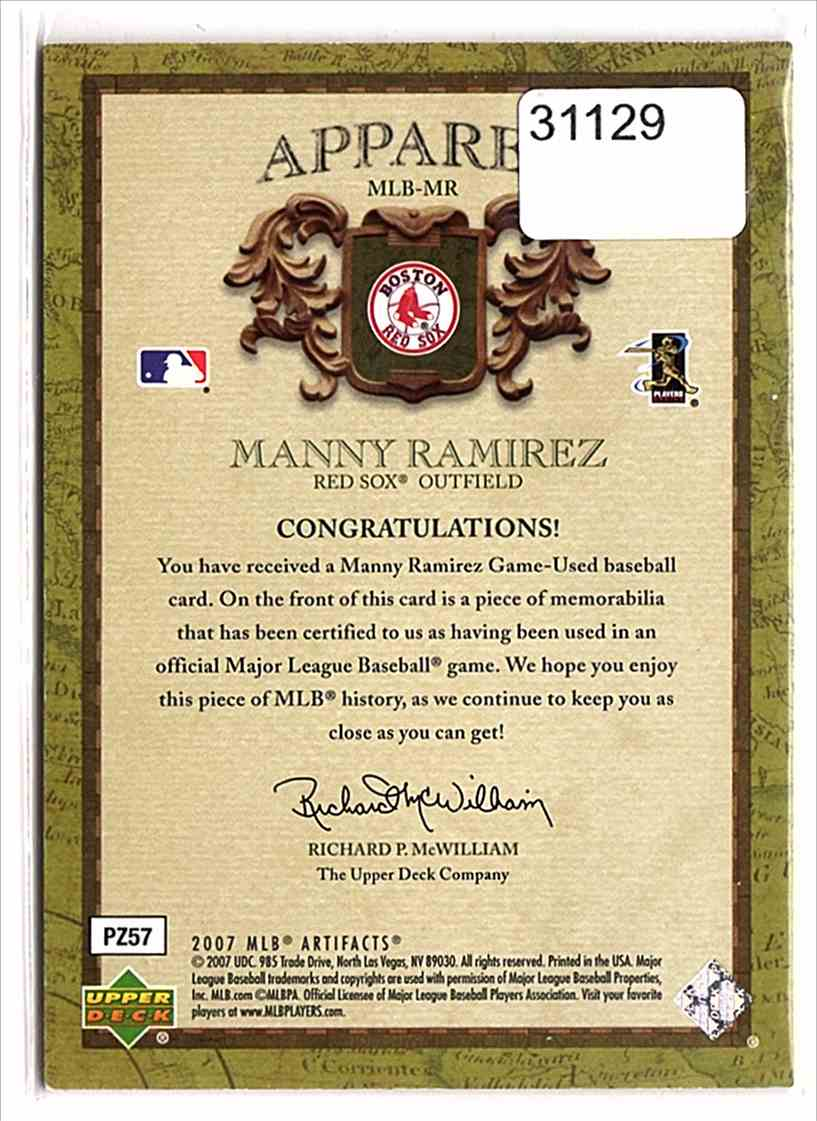 2007 Artifacts MLB Apparel Manny Ramirez #MLBMR card back image