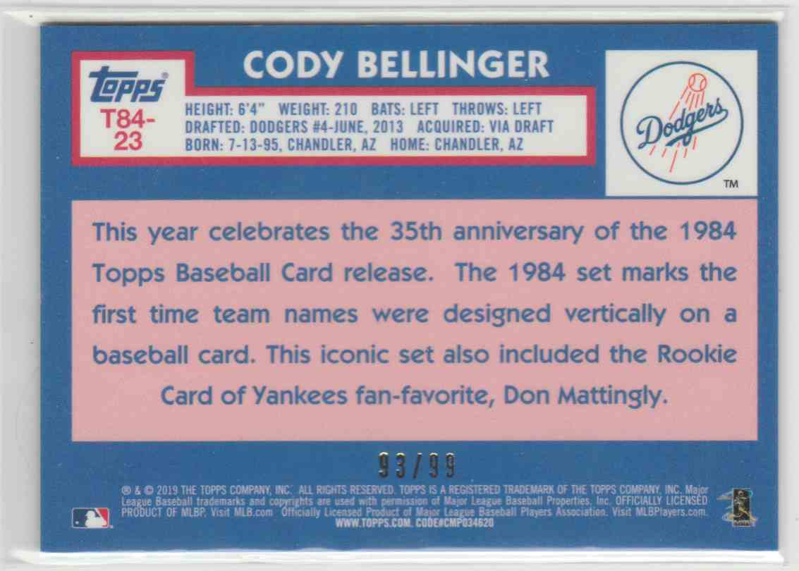 2019 Topps '84 Silver Pack Chrome Series 2 Green Refractors Cody Bellinger #T84-23 card back image