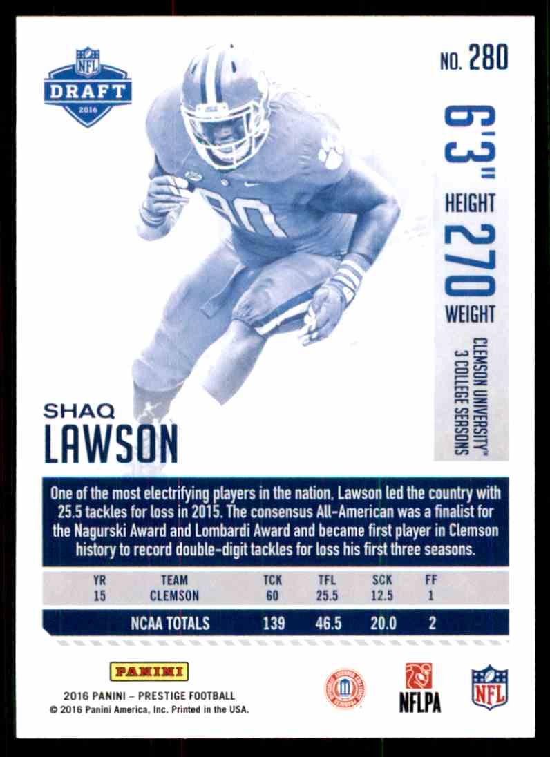2016 Panini Prestige Shaq Lawson, # 280 fútbol card!!! rookie