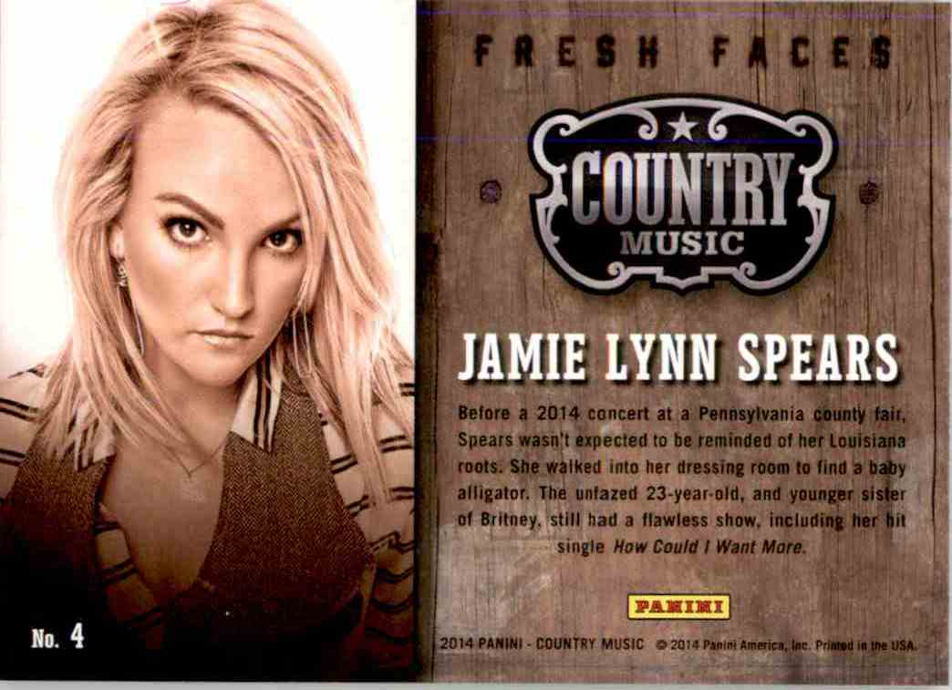 2015 Country Music Fresh Faces Green Jamie Lynn Spears #4 card back image
