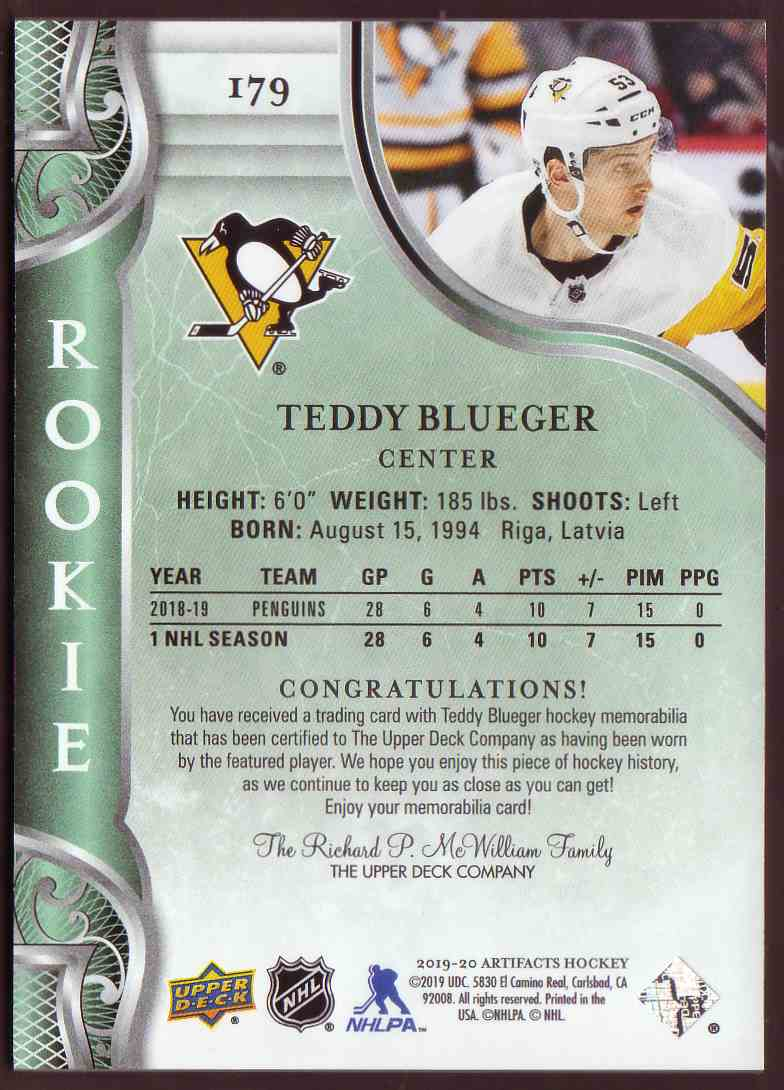 2019-20 Upper Deck Artifacts Base Material Gold Jersey Relics Teddy Blueger #179 card back image
