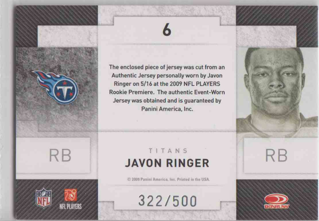 2009 Donruss Threads Javon Ringer #6 card back image