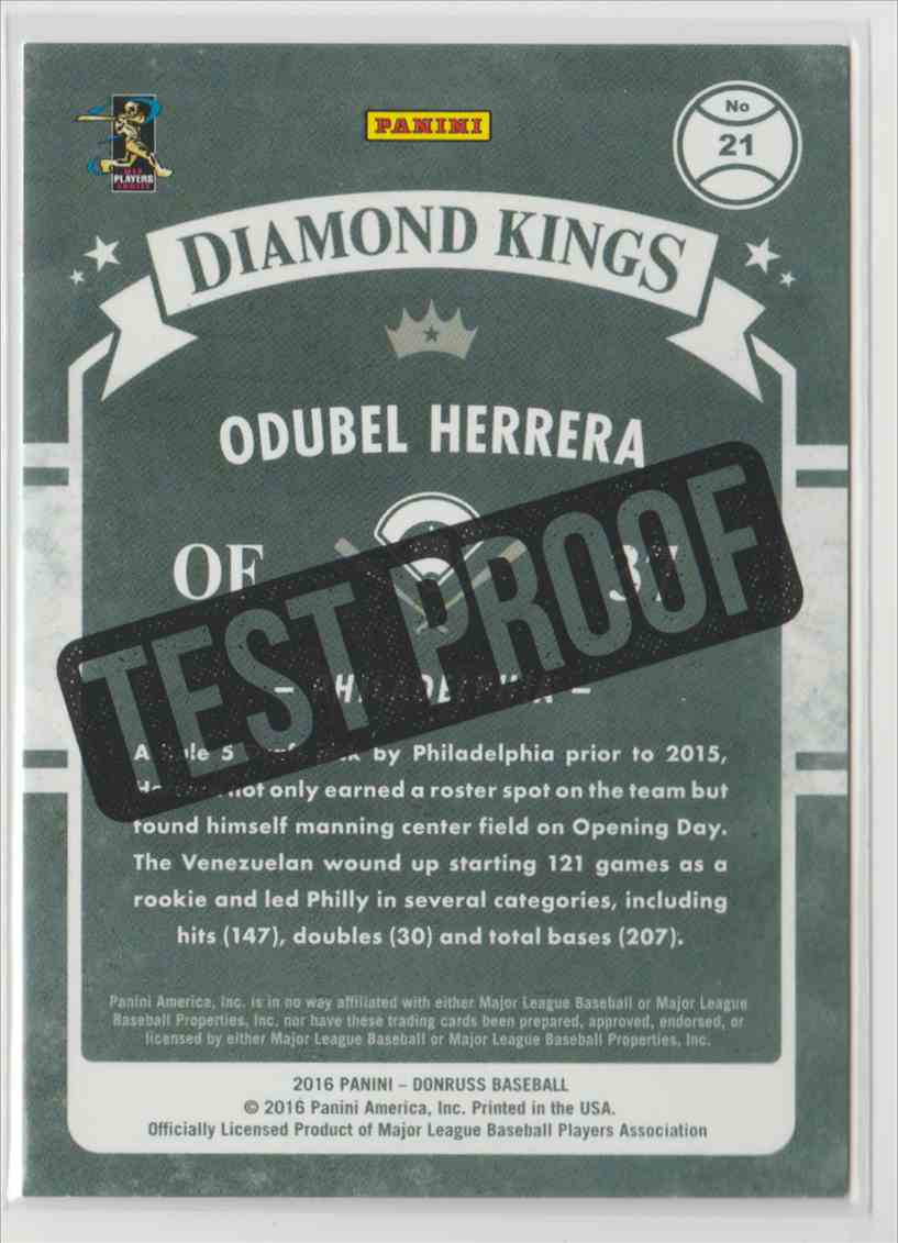 2016 Donruss Test Proof Cyan Odubel Herrera #21 card back image
