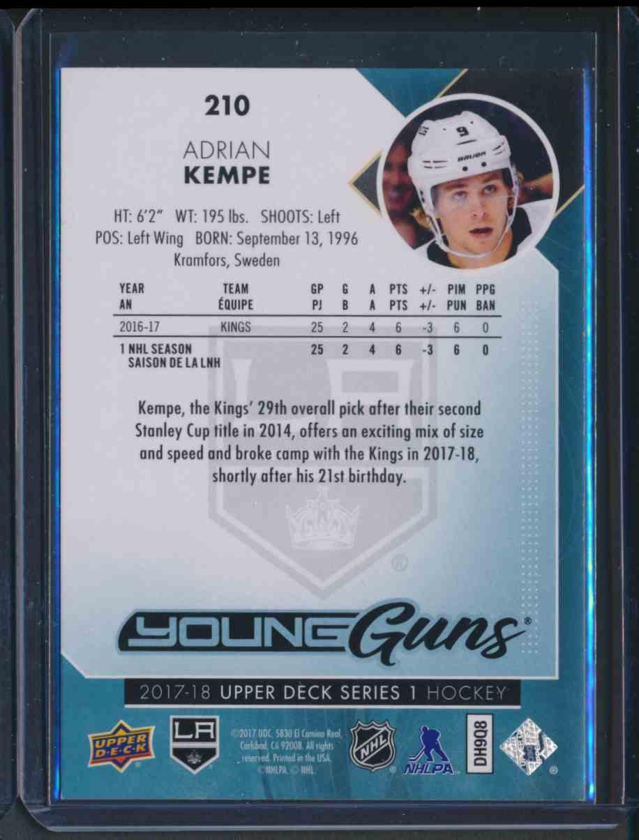 2017-18 Upper Deck Young Guns Yg Adrian Kempe #210 card back image