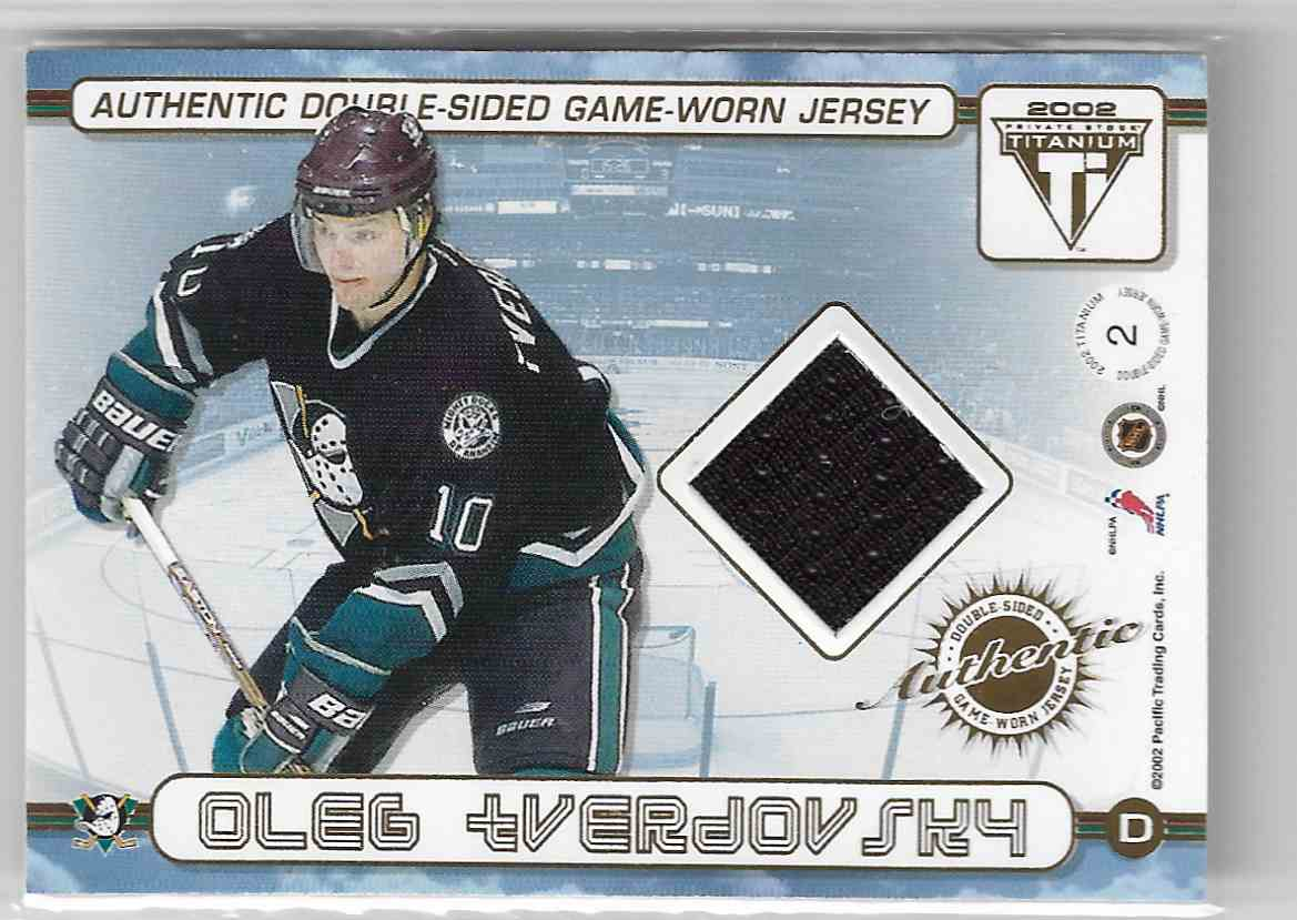 2001-02 Pacific Private Stock Titanium Authentic Double-Sided Game-Worn Jersey Jeff Friesen / Oleg Tverdovsky #2 card back image