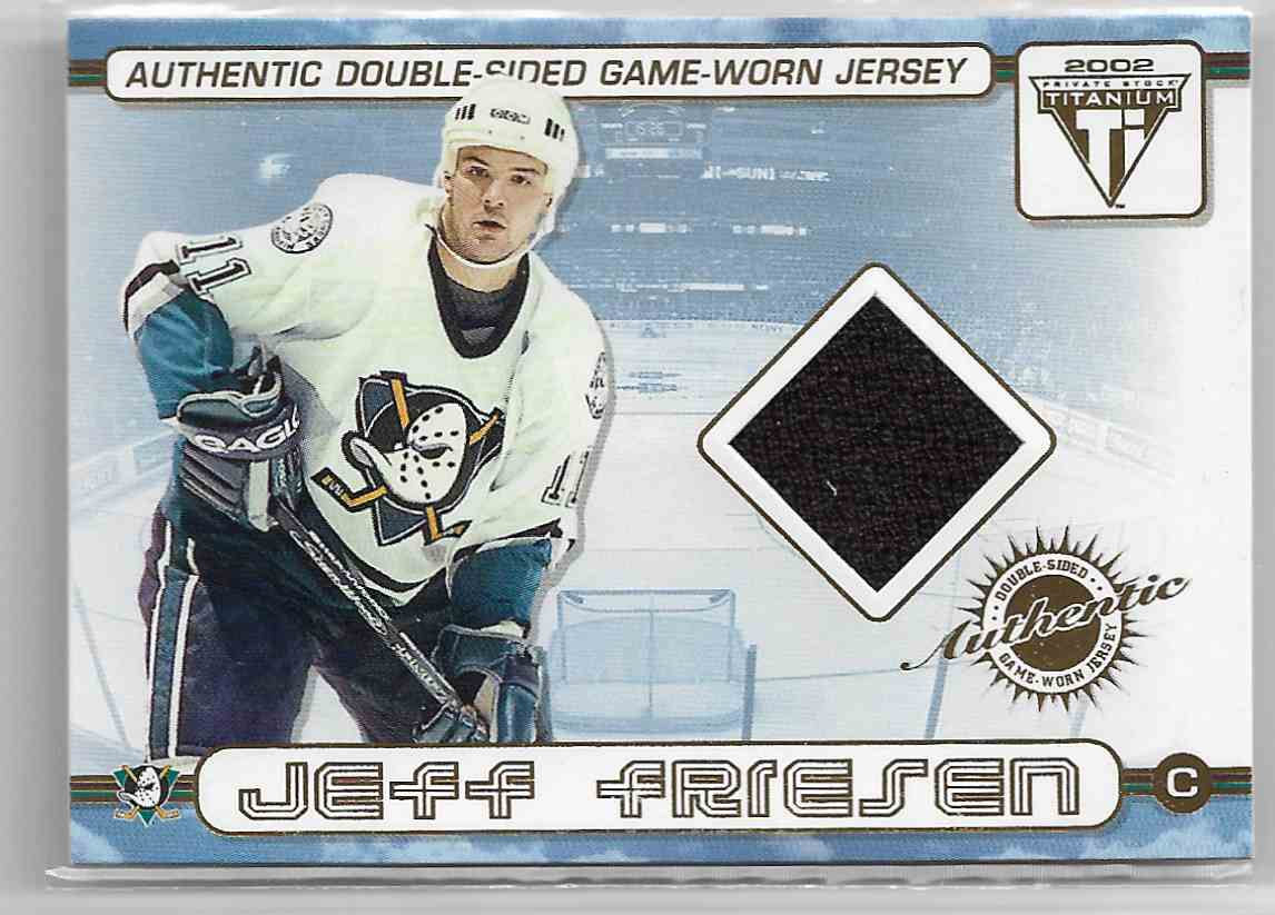 2001-02 Pacific Private Stock Titanium Authentic Double-Sided Game-Worn Jersey Jeff Friesen / Oleg Tverdovsky #2 card front image