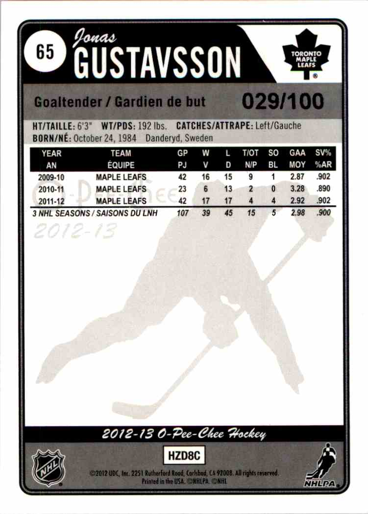 2012-13 O-Pee-Chee Black Rainbow Jonas Gustavsson #65 card back image