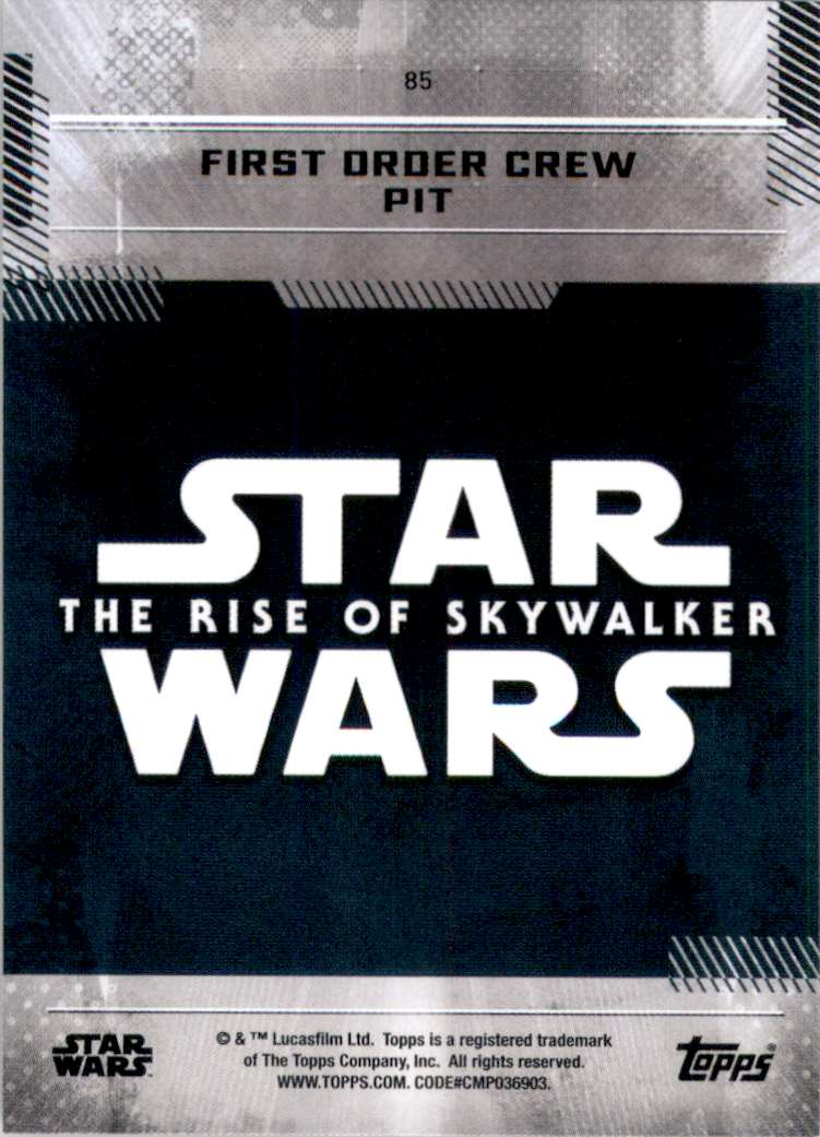 2019 Star Wars The Rise Of Skywalker Series One First Order Crew Pit #85 card back image