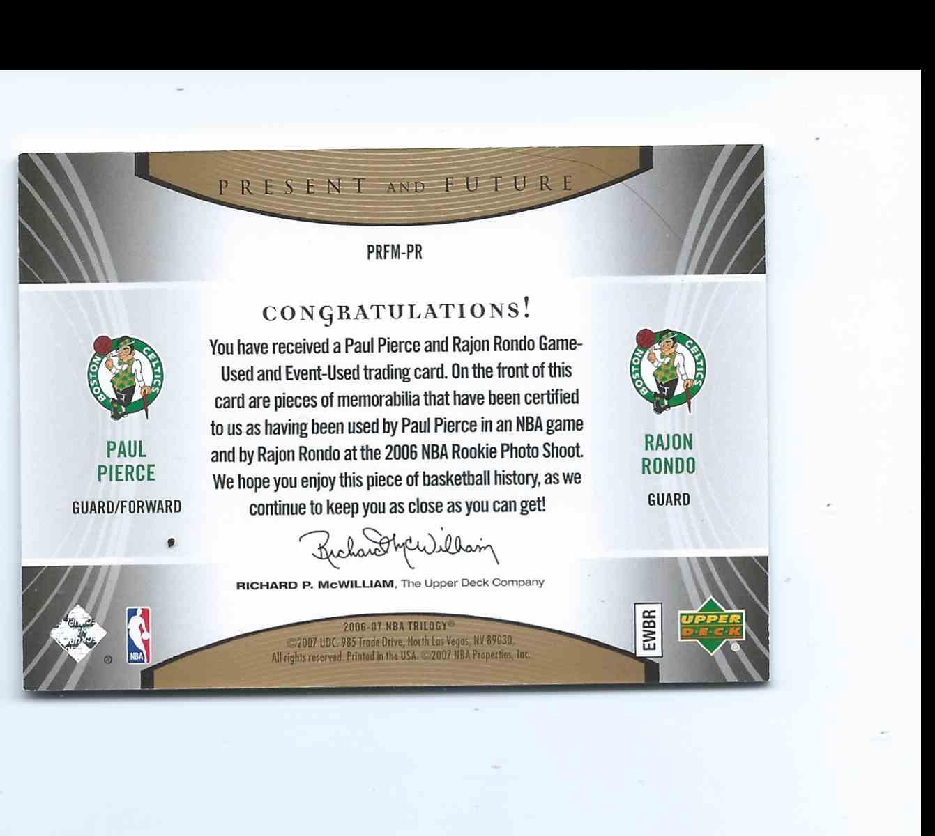 2006-07 Upper Deck Trilogy Generations Present And Future Paul Pierce / Rajon Rondo (Rc) Rookie #PRFM-PR card back image