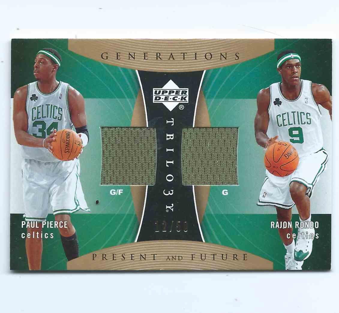 2006-07 Upper Deck Trilogy Generations Present And Future Paul Pierce / Rajon Rondo (Rc) Rookie #PRFM-PR card front image