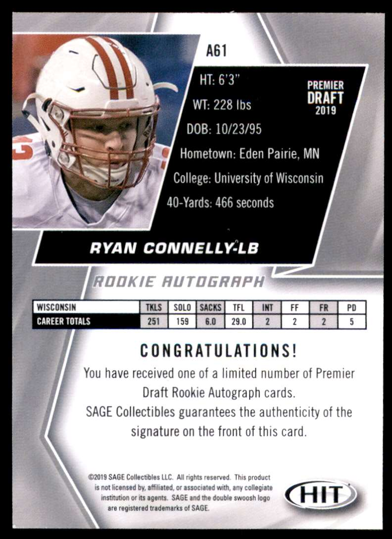 2019 Sage Hit Autographs Red Ryan Connelly #A61 card back image