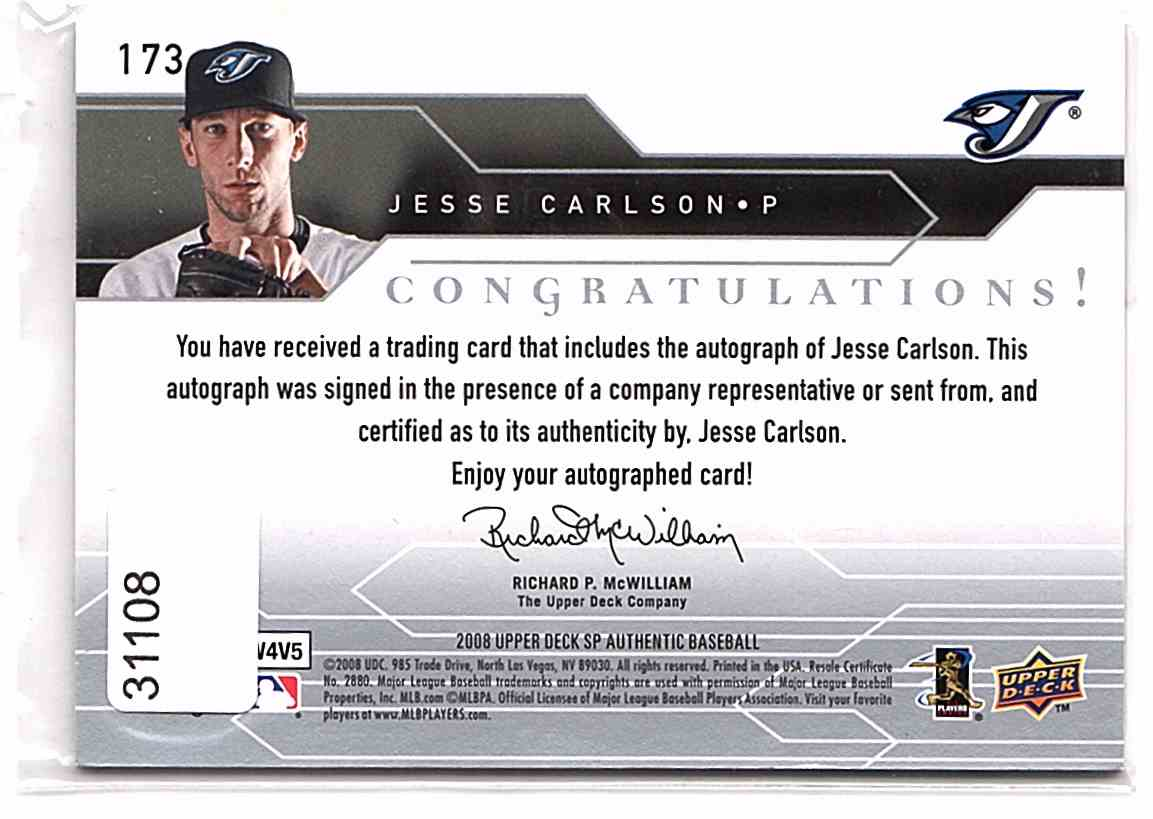 2008 SP Authentic Jesse Carlson #173 card back image